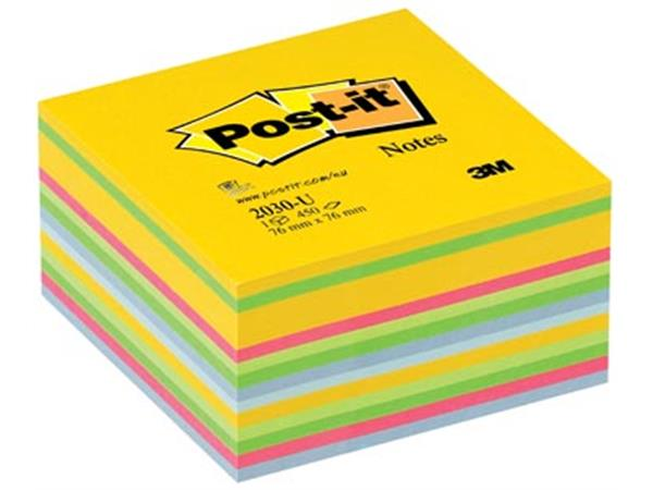 Post-it Notes, ft 76 x 76 mm, geassorteerde ultra kleuren, blok van 450 vel